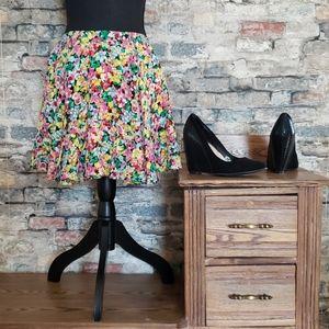 Yumi Kim 100% Silk A-line Floral Midi Skirt XS